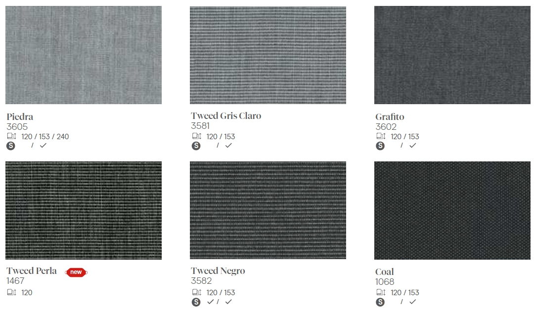 Lona Piedra tweed gris claro grafito tweed perla tweed negro coal Sevilla